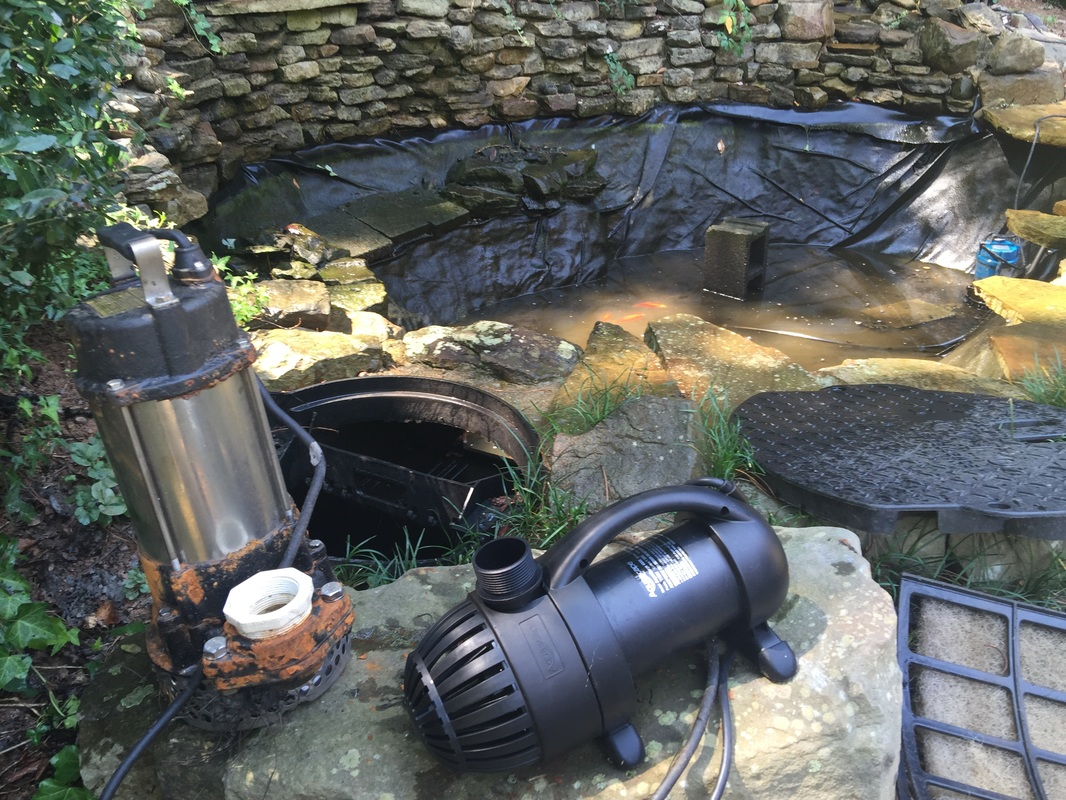 Koi pond pump repair alpharetta johns creek duluth for Pond waterfall pump